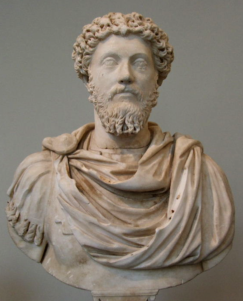 Marble portrait bust of Marcus Aurelius. Roman, Antonine period, 161-180 AD. Metropolitan Museum of Art, New York.